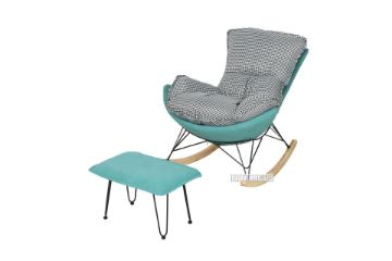 Picture of LOBSTER Fabric Rocking Chair With Footstool *Houndstooth and Blue