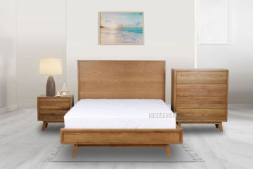 Picture of RETRO 4PC OAK Bedroom Combo IN QUEEN/SUPER KING SIZE *MAPLE