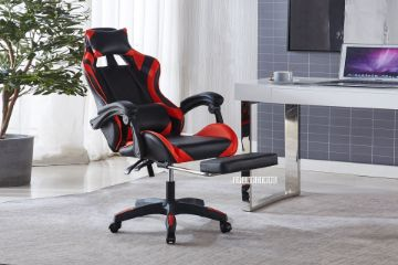 Picture of Ironman plus 0302F Reclining gaming office chair with footrest *RED