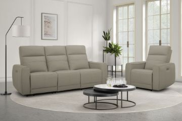 Picture of STORMWIND 3+2+1 100% Genuine Leather Power Reclining Sofa Range *Beige