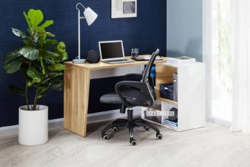 Picture of MOGANA 160 Swivel Writing Desk With Shelf *Natural Oak and White