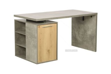 Picture of MORENA 140 1 Door Writing Desk With Shelf *Cement and Natural Oak