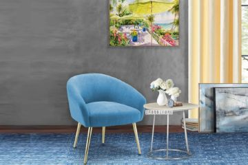 Picture of GADDY Velvet Accent Chair *Blue