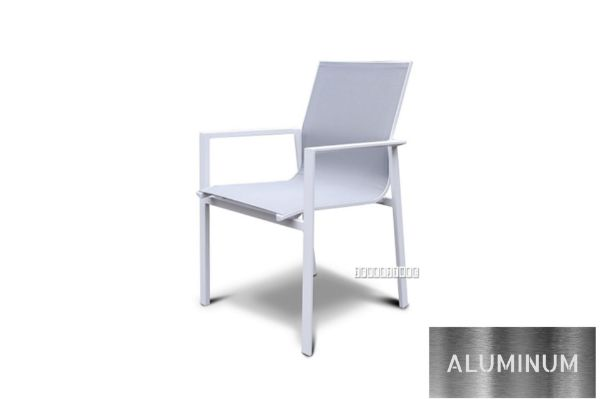 Picture of CARDIFF Aluminum Stackable Dining Chair *White and Grey
