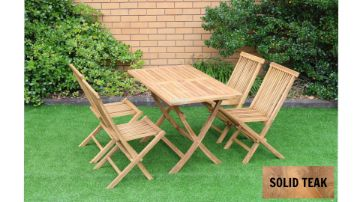 Picture of BALI Solid Teak Rectangle Folding Table 5pc Dining Set