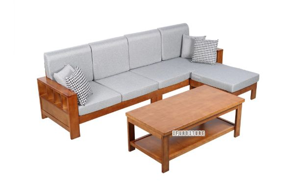 Picture of BOLEY Rubber Wood Sectional Sofa With Coffee Table *Brown and Grey