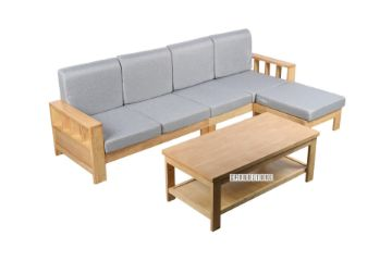 Picture of BOLEY Rubber Wood Sectional Sofa With Coffee Table *Beech and Grey