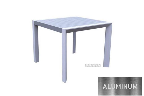 Picture of CARDIFF 90 Aluminum Square Dining Table *White and Grey