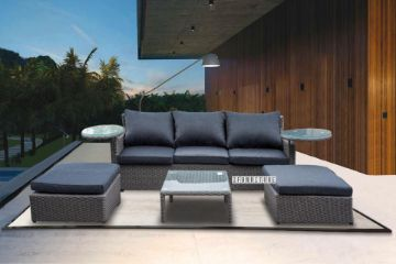 Picture of LEON Lounge Wicker Sofa Set With 2 Rotating Glass Table
